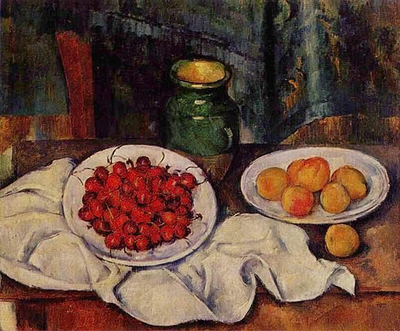 'Cerezas y melocotones' de Cézanne