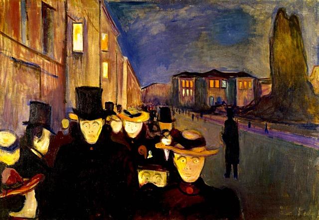'Atardecer en la calle de Karl Johan' de Munch
