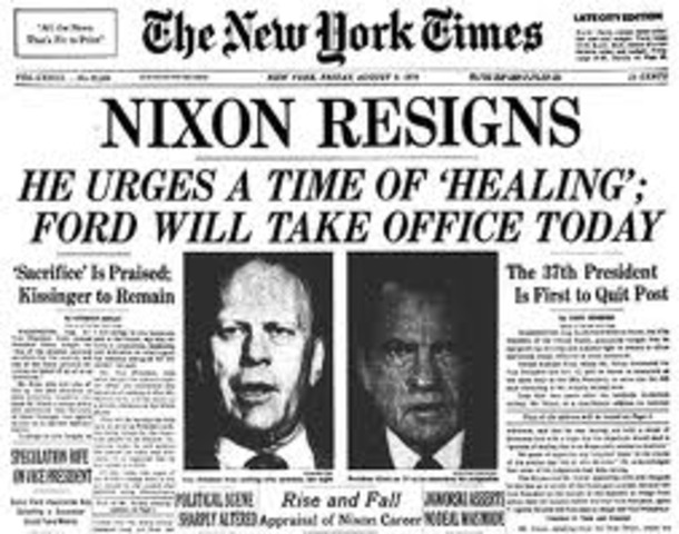 President nixon resigns. Gerald ford sworn in.