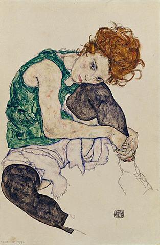 'Mujer sentada con pierna levantada' de Schiele
