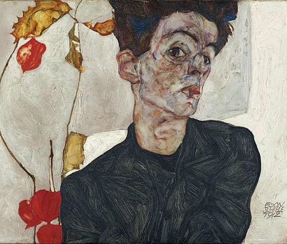 'Autorretrato con Physalis' de Schiele