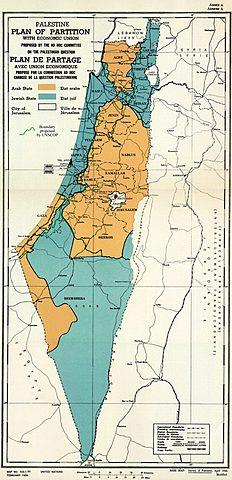 Генассамблея ООН проголосовала за создание двух государств – еврейского и арабского – на Западном берегу реки Иордан (Резолюция № 181) Еврейское население приветствовало этот план, арабское – отвергло: их территория оказалась намного меньше.