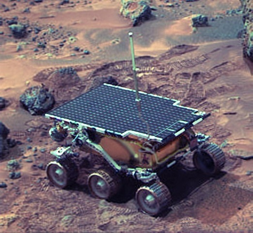 """The un-manned American space probe """"Pathfinder"""" lands on Mars and begins its successful exploration of the planet."""
