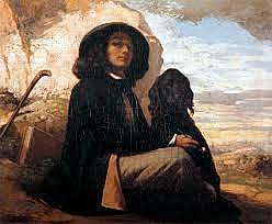 Autorretrato con un perro negro