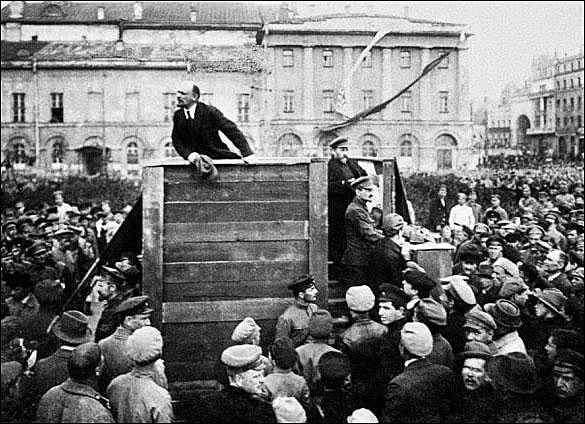 Lenin returns to Russia and announces the April Theses.