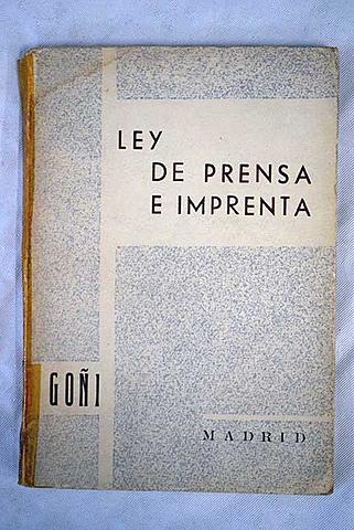 Ley de prensa e imprenta