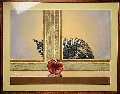 Gato tras Ventana y Manzana