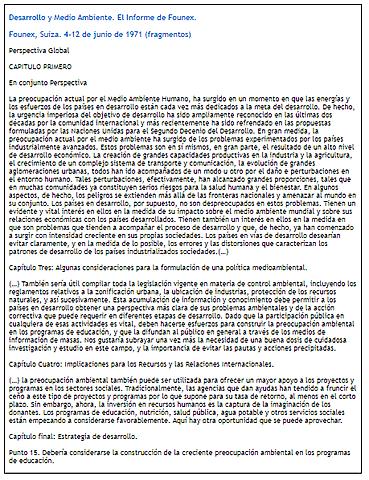 Declaración de Founex sobre Desarrollo y Medio Ambiente.