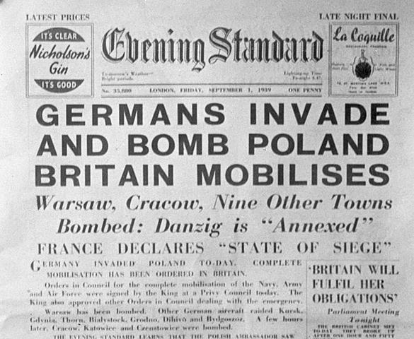 Germany invades Poland, initiating World War II in Europe.