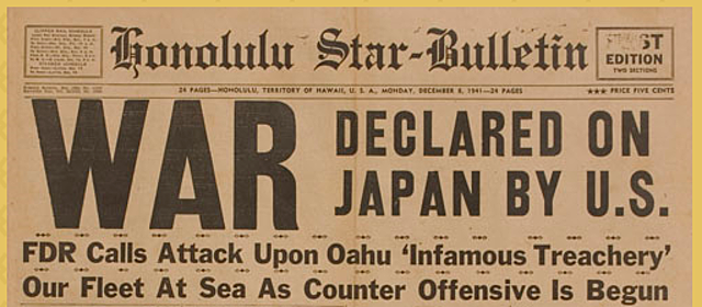United States declares war on Japan