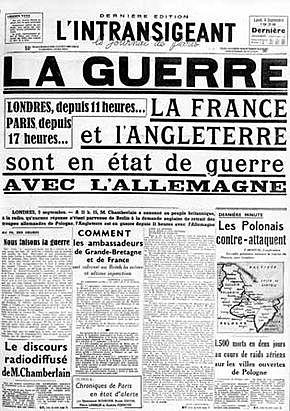 La declaració de guerra a Alemanya per part de França i la Gran Bretanya