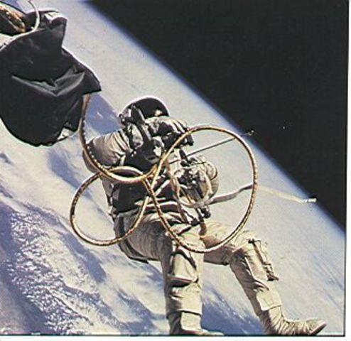 Alexei Leonov  does first Spacewalk