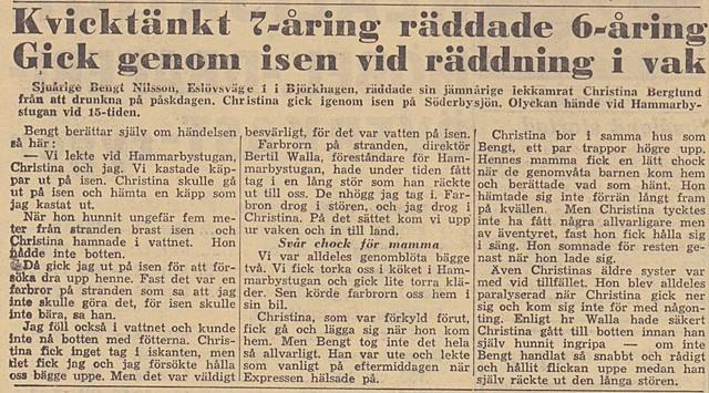 Walla och 7-åring räddar 6-åring ur vak i Söderbysjön