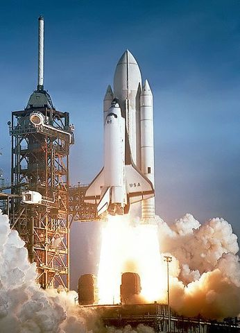 """The first American space shuttle is launched.  This is the first """"re-usable"""" space craft in history."""
