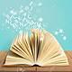 91181907 libro abierto aislado en blanco y letras volando concepto de educación
