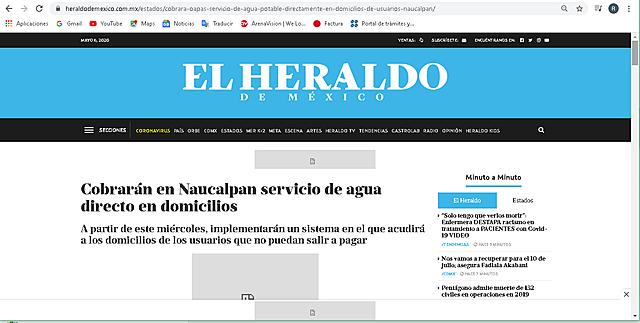 COBRARÁN EN NAUCALPAN SERVICO DE AGUA DIRECTO EN DOMICILIO