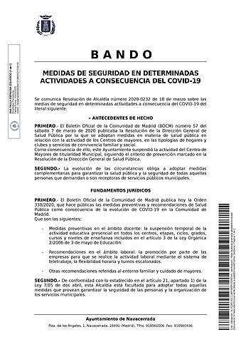 MEDIDAS DE SEGURIDAD EN DETERMINADAS ACTIVIDADES A CONSECUENCIA DE LA INFECCIÓN COVID-19.