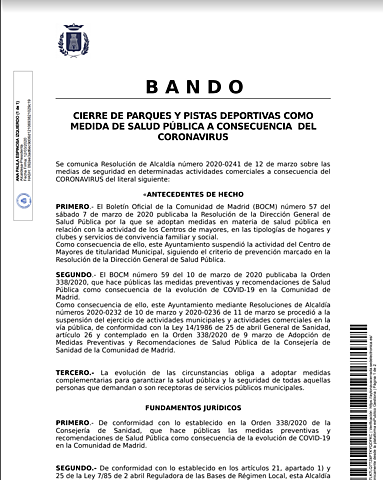 CIERRE DE PARQUES Y PISTAS DEPORTIVAS
