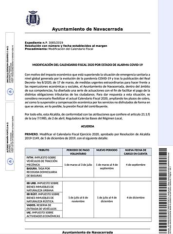 MODIFICACIÓN DEL CALENDARIO FISCAL 2020