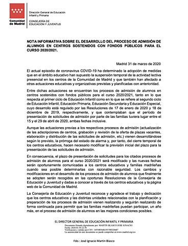 MODIFICACIÓN PERIODO DE ADMISIÓN 2020/2021