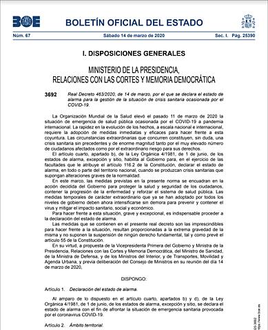 DECLARACIÓN DEL ESTADO DE ALARMA