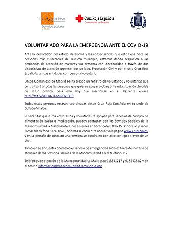 VOLUNTARIADO PARA LA EMERGENCIA ANTE EL COVID-19