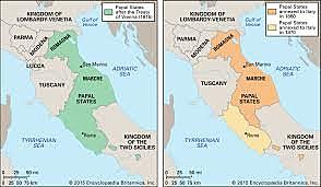 Papal States taken over by new nation of Italy