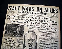 Italy enters WWII on side of Germany