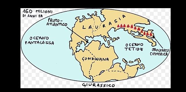 Formazione di due grandi continenti: Laurasia e Gondwana