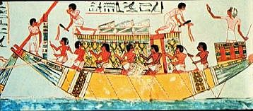 Paintings depicting ships appear on ancient Egyptian vases and murals