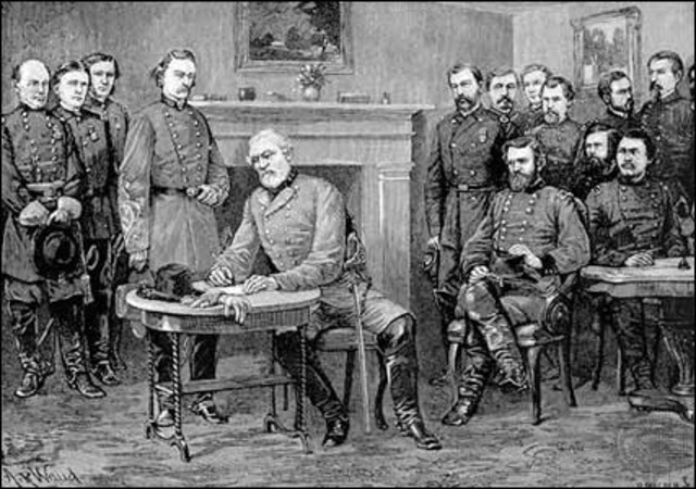 Lee surrenders to Grant's army