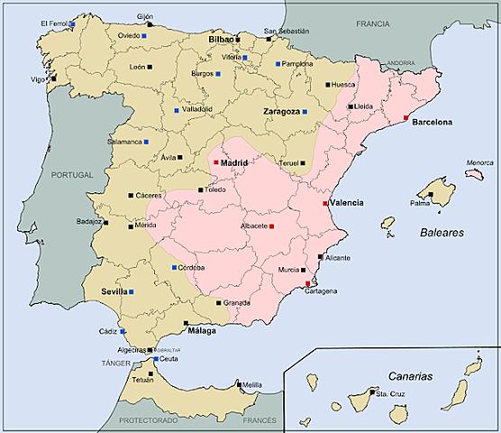 Espanya es divideix en dos bàndols : els republicans i els insurrectes