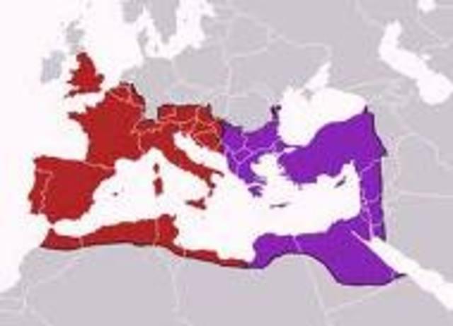división del Imperio romano (Oriente/Occ.)