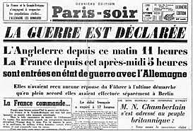 La Grande-Bretagne et la France déclarent la guerre à l'Allemagne