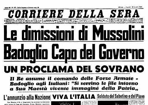La caduta di Mussolini e del fascismo