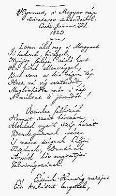 Hymnus, a' Magyar nép zivataros századaiból
