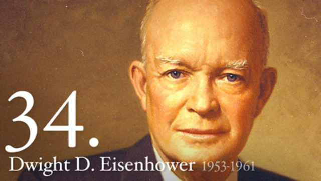 Dwight D. Eisenhower is elected as a moderate Republican.