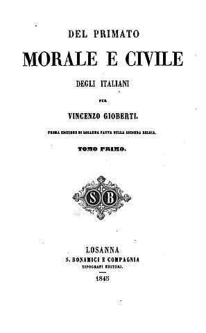 """Pubblicazione """"Del primato morale e civile degli italiani"""""""