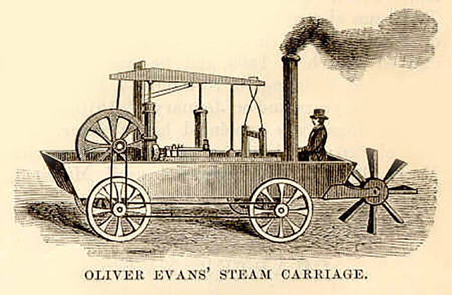 First US patent for a steam-powered land vehicle.