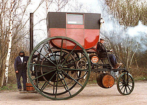 Richard Trevithick builds a steam powered road carriage