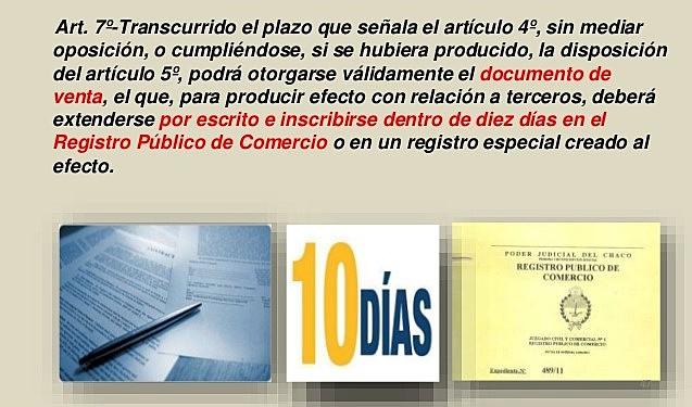Artículo 7 de la Ley N° 11.687 – Otorgamiento del Documento de Transferencia