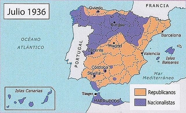 Espanya es divideix en dos bàndols (juliol 1936): els republicans i els insurrectes