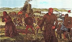 Primer ataque de los vickingos al Monasterios de Lindisfarne, en Inglaterra.