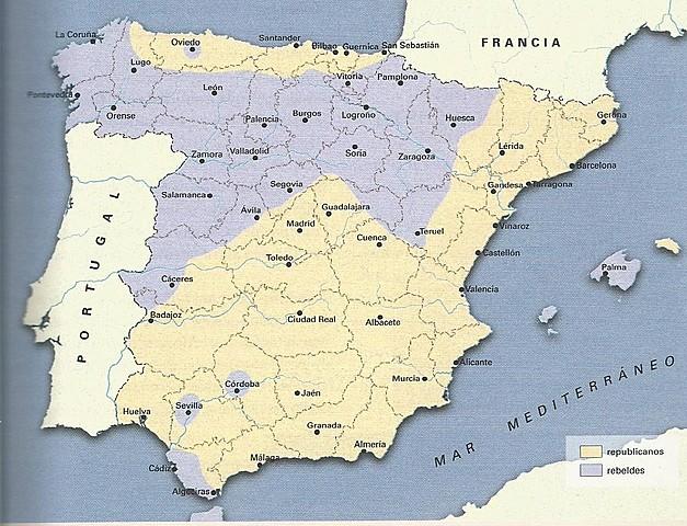Espanya es divideix en dos bàndols : els republicans i els insurrectes  (o franquistes o nacionals).