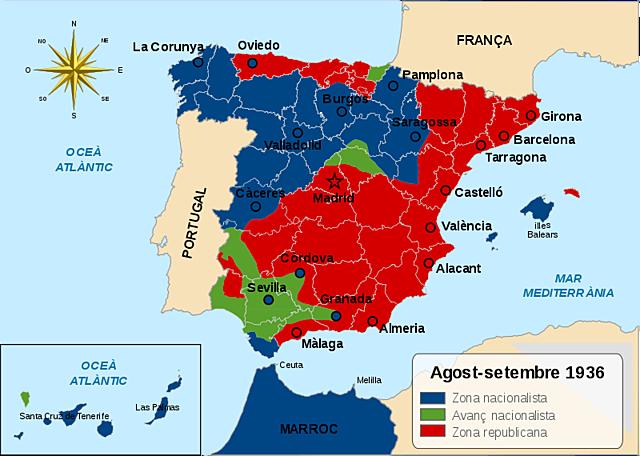 Espanya es divideix en dos bàndols: els republicans i els insurrectes