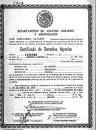 Certificación de derechos agrarios.