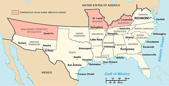 Confederate States of American break away from the Union