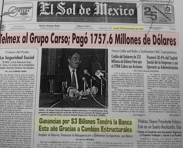 Telmex privatizado.