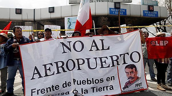 Protesta contra la construcción del aeropuerto en Texcoco.
