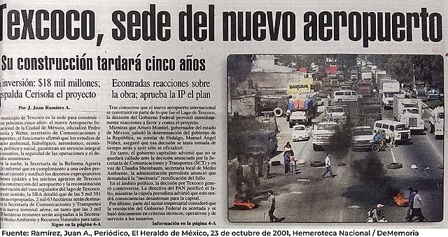 Proyecto de Texcoco cancelado.